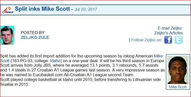 Mike Scott Signs with Split, Croacia