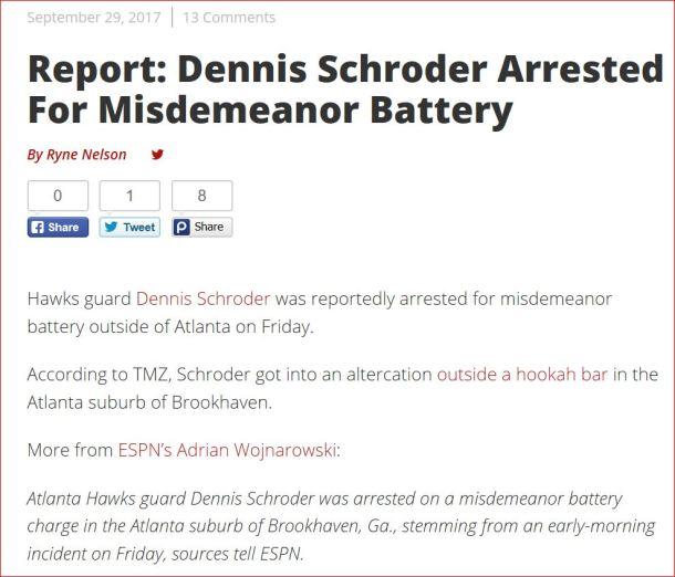 Dennis Schroder Arrested